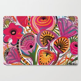 Red Flower Trip Cutting Board