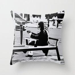 Busking - Guitar Player Throw Pillow