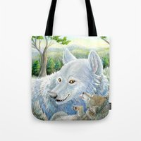 minnesota Tote Bags featuring Minnesota Wolves by MelanieLehnen