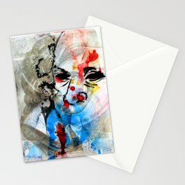 Contemporary Abstract Ink Painting Portrait on Saint Photograph  Stationery Cards