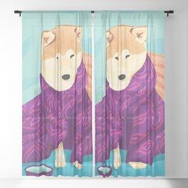 Shiba Inu Wearing a Purple Kimono, Enjoying Matcha Tea Sheer Curtain