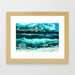 stormy sea waves reachb Framed Art Print