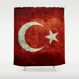 Flag of Turkey, Vintage distressed patina Shower Curtain