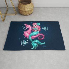 Mysterious Mermaid on Deep Blue Rug