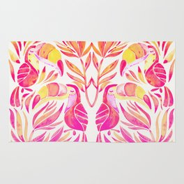 Tropical Toucans – Pink & Melon Ombré Rug