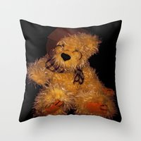 teddy bear Throw Pillows featuring Teddy by Doug McRae