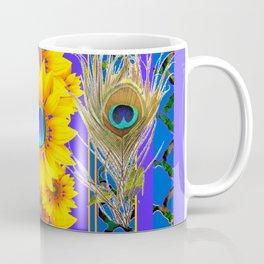 LILAC-BLUE PEACOCK JEWELED SUNFLOWERS Coffee Mug
