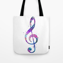 Treble Clef Sign Watercolor Print Blue Purple Wall Art Poster Music Poster Tote Bag