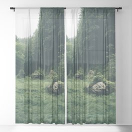Forest Field - Landscape Photography Sheer Curtain