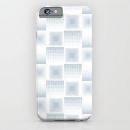 Pale Blue & Gray Textured Tile Square Simple Checkerboard Pattern Home Goods iPhone Case