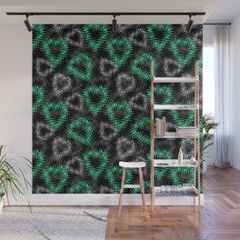 Broken heart . Black and green pattern . Wall Mural