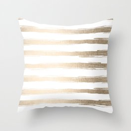 Simply Brushed Stripes White Gold Sands on White Throw Pillow