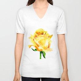 Single Yellow Rose Watercolour Painting Unisex V-Neck