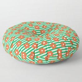 Retro Orange Poppies on Green Stripes Floor Pillow