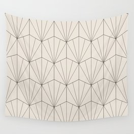 Gisela Geometric Line Pattern - Black & White Wall Tapestry