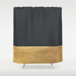 Color Blocked Gold & Leather Shower Curtain