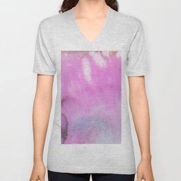 Modern neon pink lilac white abstract watercolor paint Unisex V-Neck