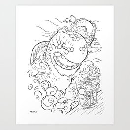 Sea Serpent - ink Art Print