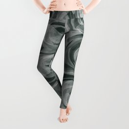 SMOKE swirling black and white abstract pattern Leggings