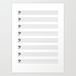 Bass Clef Staves Art Print