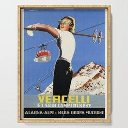 vercelli ei suoi campi di neve italy vintage poster Serving Tray