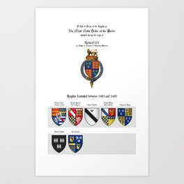 KING RICHARD III - Roll of arms of the Knights of the Garter installed during his reign Art Print