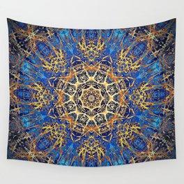 Bohemian Bright Blue and Gold Mandala Wall Tapestry