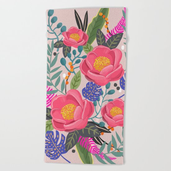 Romantic Blossom, flower print, floral print Beach Towel