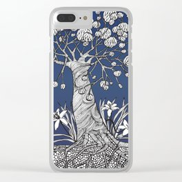 Abstract Tree with Daylilies Clear iPhone Case