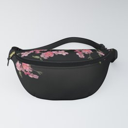 Cherry Flowers with black background Fanny Pack