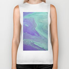 Blue Purple Flow - Fluid Acrylic Abstract Painting Biker Tank