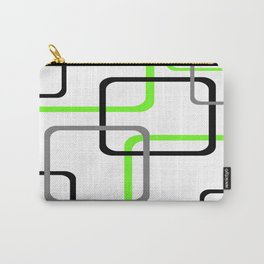 Geometric Rounded Rectangles Collage Lime Green Carry-All Pouch