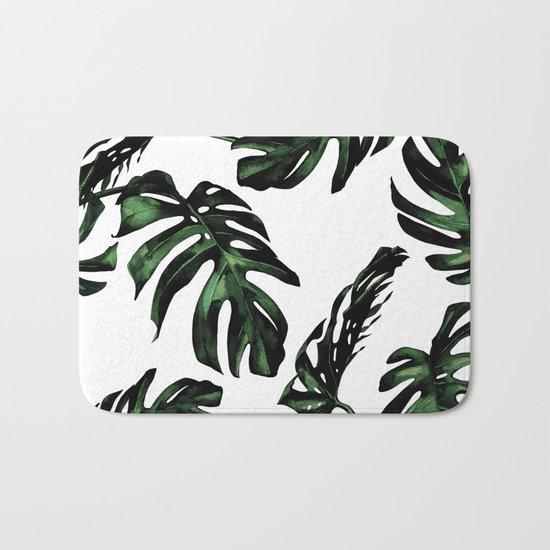 Tropical Green Palm Leaves Bath Mat