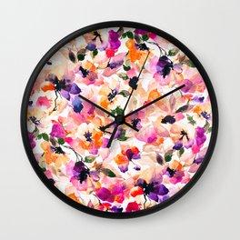 Chic Floral Pattern Pink Orange Pastel Watercolor Wall Clock