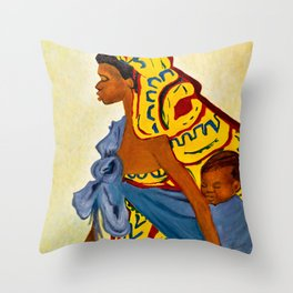 Mama Toto African Mother and Child - Sher Nasser Artist Throw Pillow