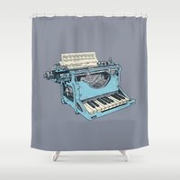 typewriter Shower Curtains featuring The Composition. by Matt Leyen