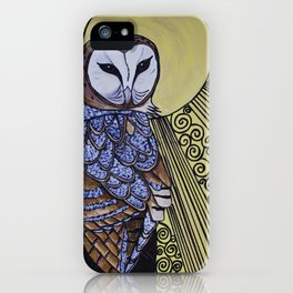 Barn Owl Art Nouveau Panel in yellow iPhone Case