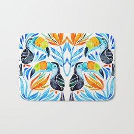 Tropical Toucans – Blue Leaves Bath Mat