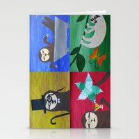sloths Stationery Cards featuring collage of sloths - sloth pictures by Cathy Jacobs