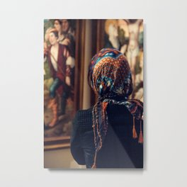 Girl with scarf Metal Print