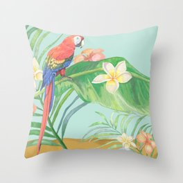 Tropical Colorful Parrot in Hawaii Island Paradise with Flowers Throw Pillow