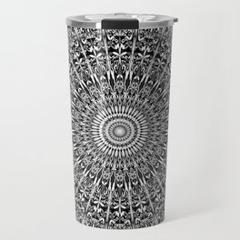 Grey Geometric Floral Mandala Travel Mug