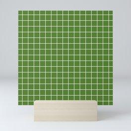 Sap green - green color - White Lines Grid Pattern Mini Art Print
