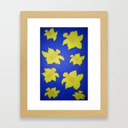 Pop Art Daffodils Blue Framed Art Print