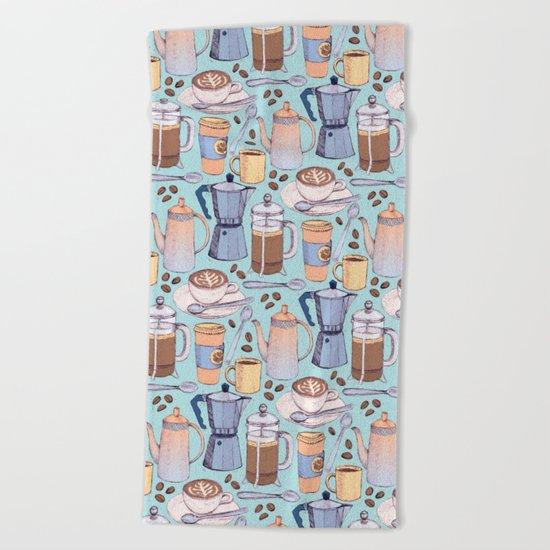 Coffee Love on Blue Beach Towel