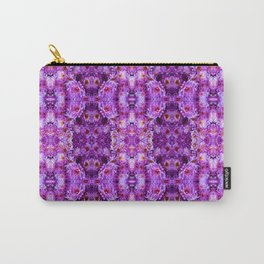 Violet Purple White Flower Pattern Carry-All Pouch