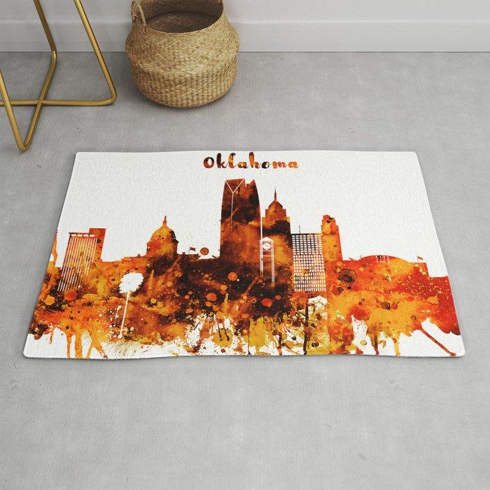 Oklahoma City Red Yellow Skyline Rug