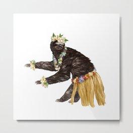Sloth the Hawaiian Dancer Metal Print