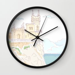 Old medieval castle. Wall art. Wall Clock