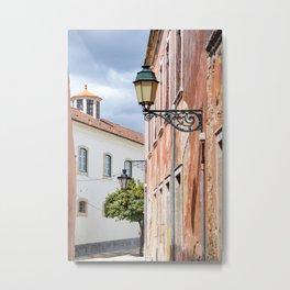 Pretty old street in Faro, Portugal Metal Print